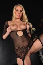 Blonde babe vanessa posing in her black fishnets
